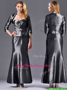 Mermaid Sweetheart Ankle-length Beaded Silver Vintage Mother Of The Bride Dress with Jacket