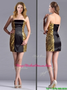 Popular Column Black and Gold Unique Mother Of The Bride Dress in Sequins and Satin