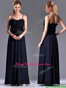 Simple Empire Straps Chiffon Ruching Navy Blue Unique Mother Of The Bride Dress for Holiday