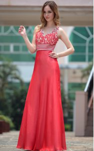 Graceful Red Side Zipper V-neck Appliques Mother Of The Bride Dress Chiffon Sleeveless