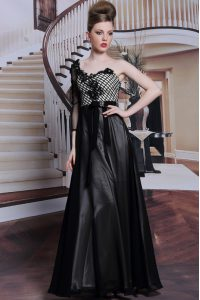 Black Mother Of The Bride Dress Prom and Party with Beading and Appliques and Hand Made Flower Asymmetric 3 4 Length Sleeve Side Zipper