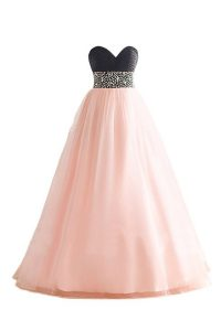 Delicate Floor Length Pink And Black Mother Of The Bride Dress Sweetheart Sleeveless Lace Up