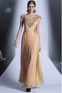 Elegant Floor Length Peach Mother of the Bride Dress Scoop Cap Sleeves Side Zipper