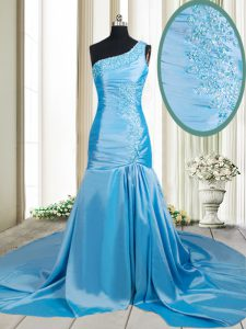 Mermaid One Shoulder Sleeveless Beading and Appliques Zipper Mother Of The Bride Dress with Baby Blue Brush Train