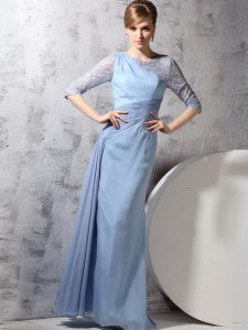 Scoop Light Blue Chiffon Zipper Mother Of The Bride Dress Half Sleeves Ankle Length Beading and Ruching