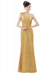 Sequined One Shoulder Sleeveless Zipper Beading and Sequins Mother Of The Bride Dress in Gold