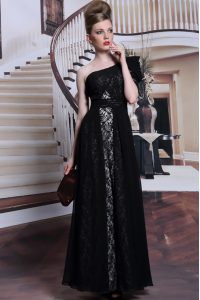 One Shoulder Black Side Zipper Mother Of The Bride Dress Lace and Sequins Sleeveless Floor Length