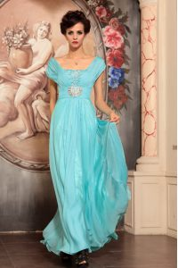 Off the Shoulder Aqua Blue Cap Sleeves Floor Length Beading Side Zipper Mother Of The Bride Dress