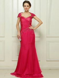 Luxury Hot Pink Cap Sleeves Chiffon Sweep Train Backless Mother Of The Bride Dress for Prom and Party