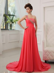 Watermelon Red One Shoulder Zipper Beading Mother Of The Bride Dress Brush Train Sleeveless