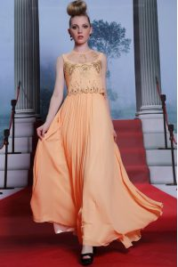 Stunning Orange Empire High-neck Sleeveless Chiffon Floor Length Side Zipper Beading and Appliques Mother of Bride Dresses