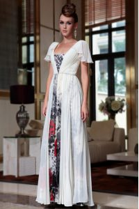 Nice Off the Shoulder Beading and Pattern Mother Of The Bride Dress Multi-color Zipper Cap Sleeves Ankle Length
