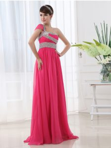 Dazzling One Shoulder With Train Hot Pink Mother Of The Bride Dress Chiffon Brush Train Cap Sleeves Beading and Ruching