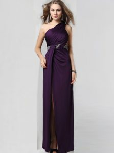 Admirable One Shoulder Purple Sleeveless Elastic Woven Satin Criss Cross Mother Of The Bride Dress for Prom and Party
