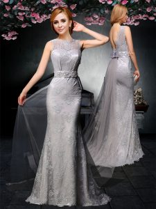 Tulle and Lace Bateau Sleeveless Watteau Train Backless Lace and Belt Mother Dresses in Grey