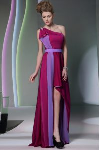 Burgundy One Shoulder Neckline Beading and Sashes ribbons Mother Of The Bride Dress Sleeveless Side Zipper