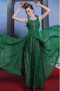 Perfect Dark Green Chiffon and Sequined Side Zipper Scoop Sleeveless Floor Length Mother Of The Bride Dress Beading