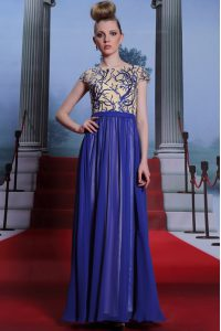 Scoop Royal Blue Zipper Mother Of The Bride Dress Embroidery and Sequins Cap Sleeves Floor Length