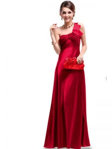 Satin One Shoulder Sleeveless Criss Cross Ruching Mother Of The Bride Dress in Wine Red