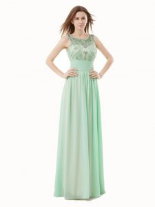 New Arrival Apple Green Empire Scoop Sleeveless Chiffon Floor Length Zipper Beading and Bowknot Mother of Groom Dress