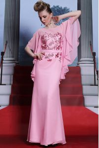 Scoop Rose Pink Zipper Mother Of The Bride Dress Beading Half Sleeves Floor Length
