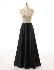 Black Mother Of The Bride Dress Prom with Beading Scoop Sleeveless Side Zipper