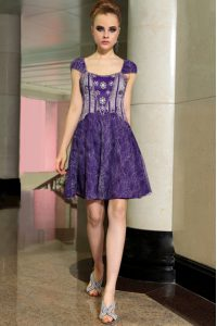 Lace Mini Length Purple Mother Of The Bride Dress Square Sleeveless Zipper
