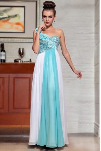 Sleeveless Ankle Length Beading and Sequins and Hand Made Flower Side Zipper Mother Of The Bride Dress with Blue And White