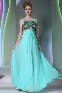 Colorful Scoop Sleeveless Chiffon Floor Length Side Zipper Mother Of The Bride Dress in Aqua Blue with Beading