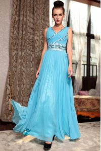 Sleeveless Side Zipper Ankle Length Beading and Appliques and Ruching Mother of the Bride Dress
