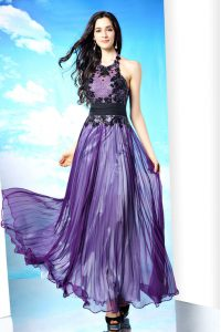 Halter Top Purple Sleeveless Floor Length Lace Zipper Mother Of The Bride Dress