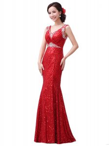 Best Floor Length Red Mother Of The Bride Dress Sequined Sleeveless Sequins