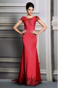 Scoop Red Satin Clasp Handle Mother Of The Bride Dress Short Sleeves Court Train Appliques