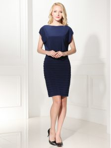 Navy Blue Zipper Mother Of The Bride Dress Ruffles Cap Sleeves Mini Length
