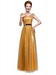 Unique Gold Empire Sequined Scoop Cap Sleeves Beading and Sequins and Belt Floor Length Zipper Mother Of The Bride Dress