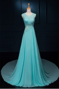 Perfect Scoop Sleeveless With Train Beading and Appliques Zipper Mother Of The Bride Dress with Baby Blue Brush Train