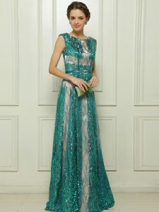 Hot Selling Teal Tulle Zipper Scoop Sleeveless Floor Length Mother Of The Bride Dress Beading and Sequins