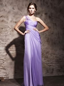 Lavender Column/Sheath Chiffon One Shoulder Sleeveless Beading and Ruching Floor Length Side Zipper Mother Of The Bride Dress