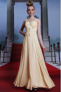 Beading and Ruching Mother Of The Bride Dress Light Yellow Side Zipper Sleeveless Floor Length