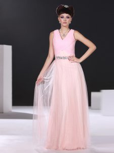 Pink Side Zipper V-neck Beading and Ruching Mother Of The Bride Dress Organza Sleeveless