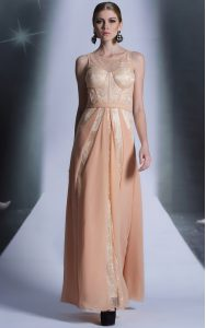 Scoop Peach Sleeveless Floor Length Lace Side Zipper Mother Of The Bride Dress