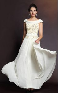 Beading Mother Of The Bride Dress White Side Zipper Cap Sleeves Floor Length
