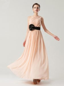 One Shoulder Ankle Length Side Zipper Mother Of The Bride Dress Peach for Prom and Party with Belt