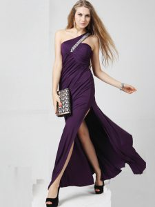 Eye-catching One Shoulder Sleeveless Chiffon Mother Of The Bride Dress Beading and Ruching Criss Cross
