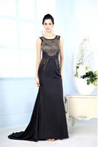 Adorable Black Column/Sheath Bateau Sleeveless Chiffon Floor Length Side Zipper Beading Mother Of The Bride Dress