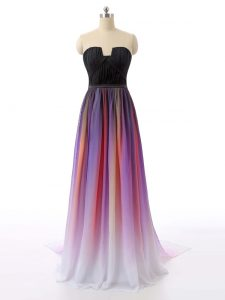 Most Popular Multi-color Sweetheart Zipper Ruching Mother Of The Bride Dress Sweep Train Sleeveless