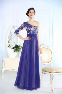 Fantastic Blue One Shoulder Side Zipper Beading and Appliques Mother Of The Bride Dress Long Sleeves