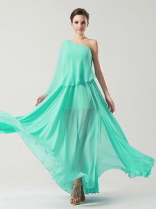 Turquoise Side Zipper One Shoulder Ruching Mother Of The Bride Dress Chiffon Sleeveless