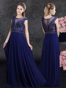 Fashionable Navy Blue Empire Chiffon Scoop Cap Sleeves Beading and Appliques Floor Length Side Zipper Mother Of The Bride Dress
