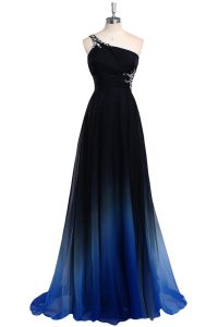 Navy Blue A-line Chiffon One Shoulder Sleeveless Beading Floor Length Criss Cross Mother Of The Bride Dress